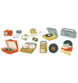 vinyl plates and magnetophones for playing music vector image