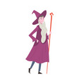 young man dressed as magician guy in festival vector image vector image