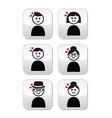 People with hearts love Valentines Day buttons vector image