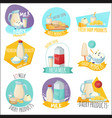 dairy products set of logos vector image