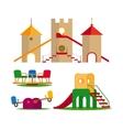 Kids swing slides and castle vector image