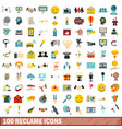 100 reclame icons set flat style vector image vector image