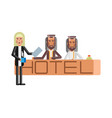 arabic receptionists at hotel reception desk vector image