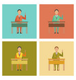 assembly flat icons pupil at school desk vector image vector image
