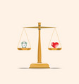 balance heart and clock on scales vector image vector image