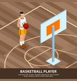 Basketball player professions isometric background
