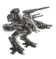 battle robot science fiction vector image