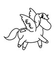 beautiful horse pony wings foal toy vector image vector image