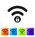 black wifi locked sign icon isolated on white vector image vector image