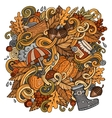 Cartoon cute doodles hand drawn autumn vector image vector image