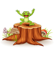 Cartoon happy frog jumping on tree stump vector image vector image