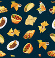 cartoon mexican food pattern or background vector image vector image