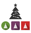 christmas tree icon in different variants vector image vector image