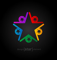 coloured star Abstract design element on black vector image