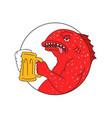 coral trout beer mug circle drawing vector image