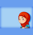 cute muslim girl on blue background vector image vector image