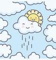 cute summer sun and clouds rainy kawaii characters vector image