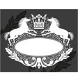 decorative frame with crown and horses vector image vector image