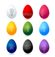 Easter eggs colorful with floral ornament vector image vector image