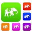elephant set collection vector image vector image