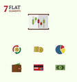 flat icon gain set of billfold cash greenback vector image vector image