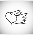 heart with wings thin line on white background vector image