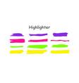 highlight brush stroke set color marker vector image