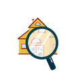 house under a magnifying glass vector image vector image