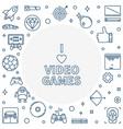 i love video games concept outline frame vector image