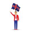 iceland flag waving man vector image vector image