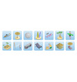 isometric summer beach vacation icons set vector image vector image