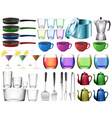 Kitchenware set with glasses vector image vector image
