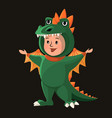 little boy with dragon costume halloween cartoon vector image vector image