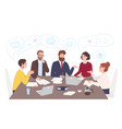 men and women dressed in business clothes sitting vector image vector image