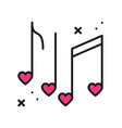 music notes with hearts line icon disco dance vector image vector image