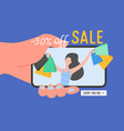 online shopping banner concept sale mobile app vector image