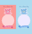 pink blue baby shower bear template vector image