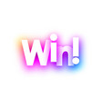 pink win sign on white background vector image vector image