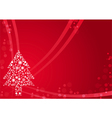 Red christmas background with Christmas tree vector image vector image