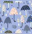 seamless childish pattern with colorful umbrellas vector image vector image