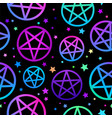 seamless pattern neon pentagrams on black vector image