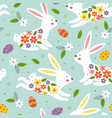 seamless pattern white easter bunny vector image vector image