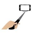 selfie stick with cellphone vector image