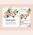 set cards with roses and flowers plants vector image vector image