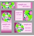 Set of four cards with floral pattern in pink vector image