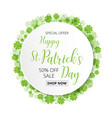 special offer sale text badge with green clover vector image vector image