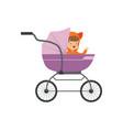 sweet little kid sitting in a purple bapram vector image vector image