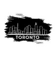toronto skyline silhouette hand drawn sketch vector image vector image