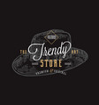 trendy hat store retro typography abstract vector image