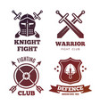 vintage medieval warrior emblems isolated on white vector image vector image